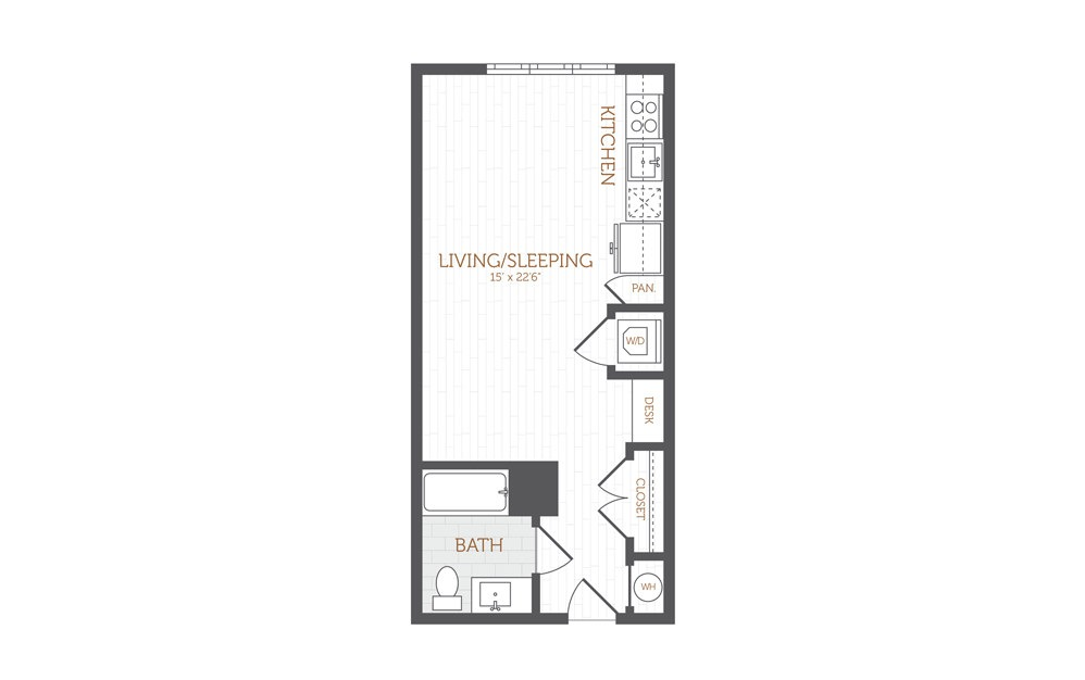 A1 - Studio floorplan layout with 1 bath and 485 to 505 square feet.