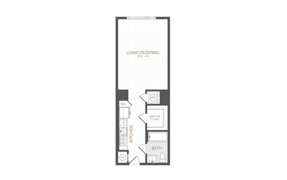 A2 - Studio floorplan layout with 1 bath and 554 square feet.