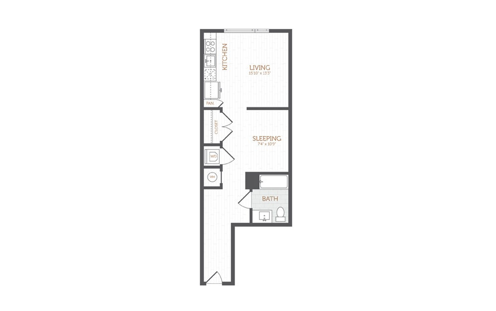 A3 - Studio floorplan layout with 1 bath and 603 square feet.