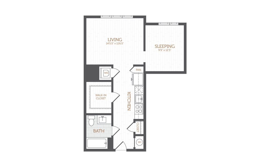 A4 - Studio floorplan layout with 1 bath and 640 square feet.
