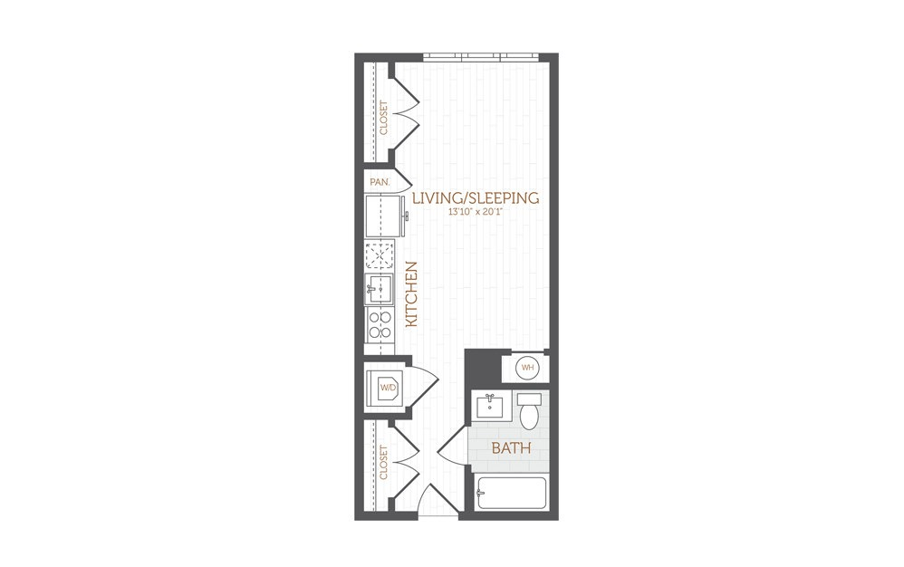A6 - Studio floorplan layout with 1 bath and 447 to 476 square feet.