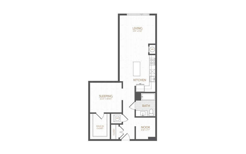 AA2 - Studio floorplan layout with 1 bath and 816 square feet.