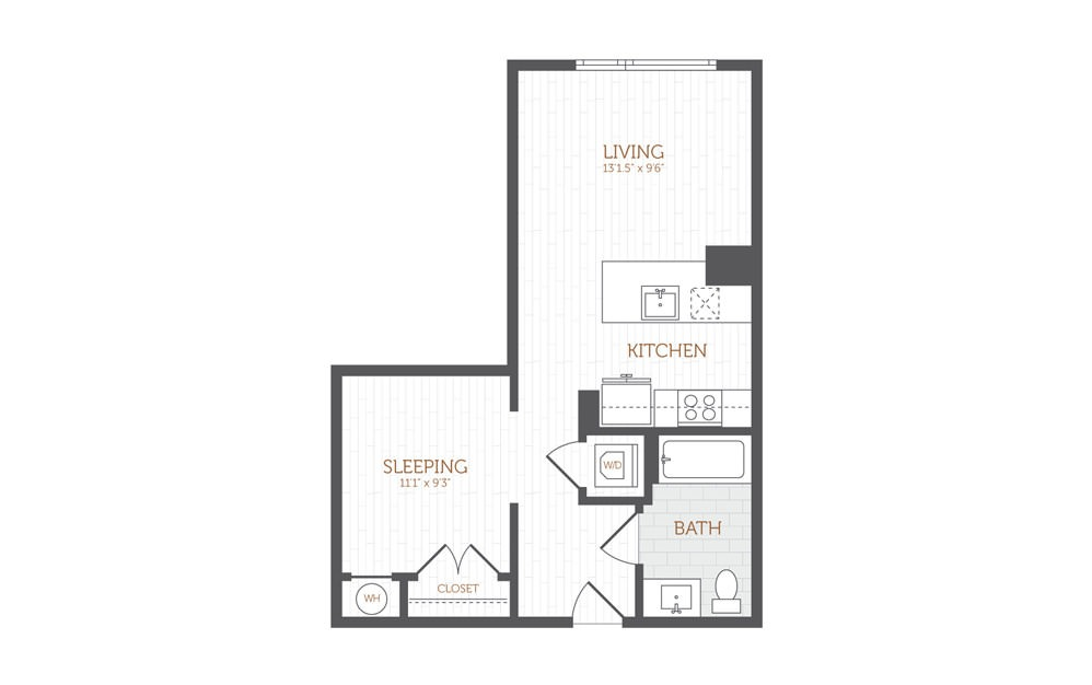 AA3 - Studio floorplan layout with 1 bath and 580 to 619 square feet.
