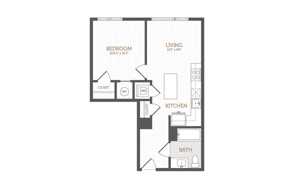 B1 - 1 bedroom floorplan layout with 1 bath and 586 to 656 square feet.