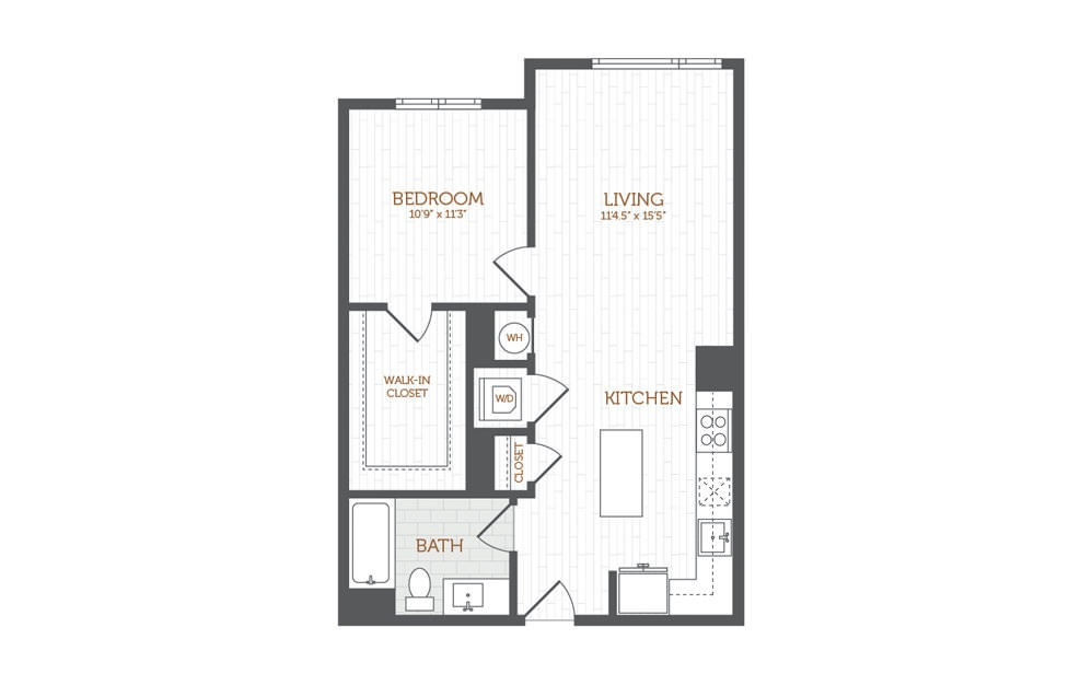 B2 - 1 bedroom floorplan layout with 1 bath and 733 to 780 square feet.
