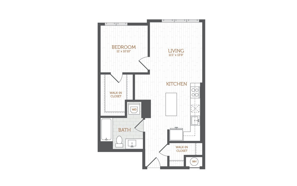 B3 - 1 bedroom floorplan layout with 1 bath and 754 square feet.