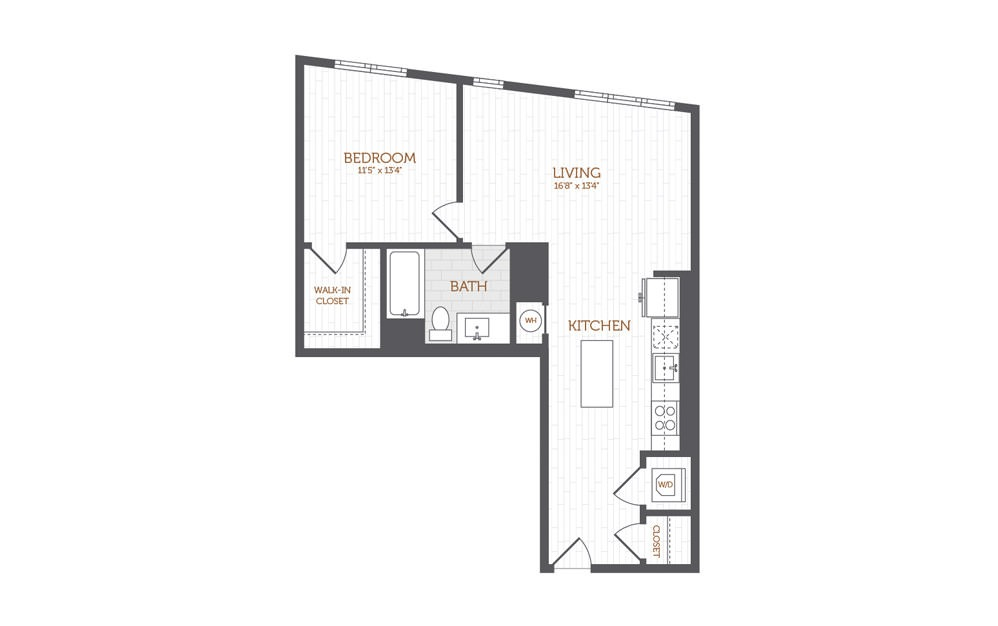 B6 - 1 bedroom floorplan layout with 1 bath and 788 to 814 square feet.