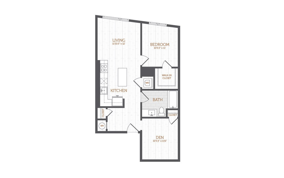 BB11 - 1 bedroom floorplan layout with 1 bath and 836 square feet.