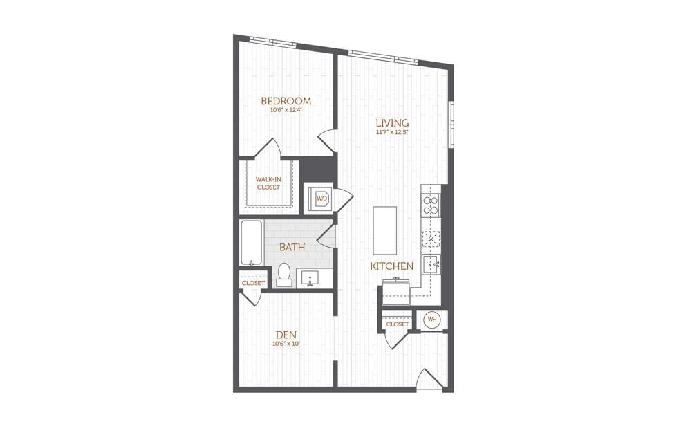 BB12 - 1 Bedroom Den floorplan layout with 1 bath and 859 to 870 square feet.
