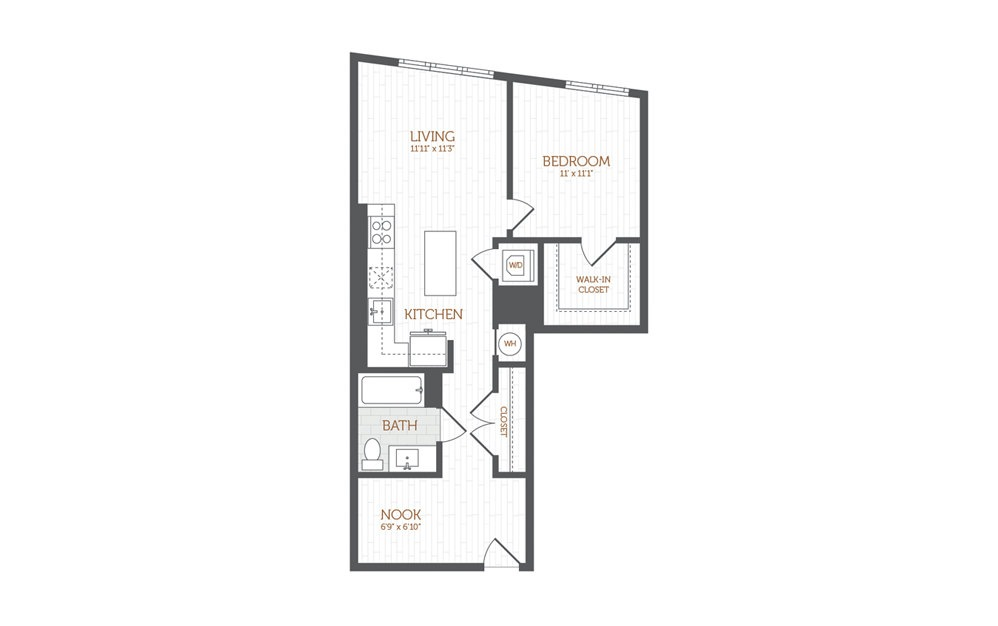 BB14 - 1 Bedroom with Den floorplan layout with 1 bath and 769 to 797 square feet.