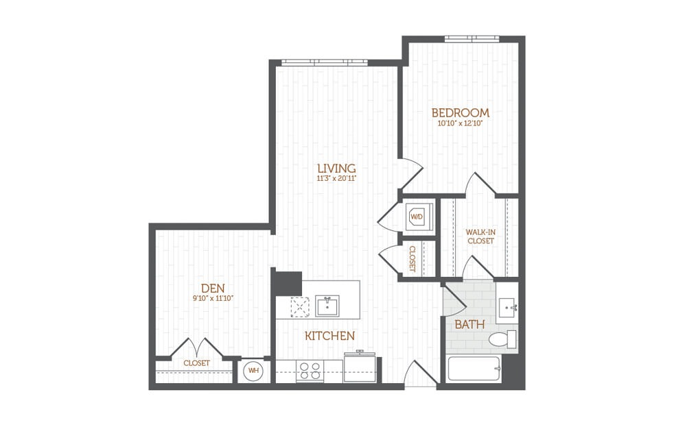 BB15 - 1 bedroom floorplan layout with 1 bath and 897 to 932 square feet.