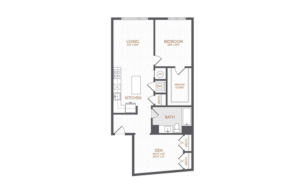 BB2 - 1 bedroom floorplan layout with 1 bath and 973 square feet.
