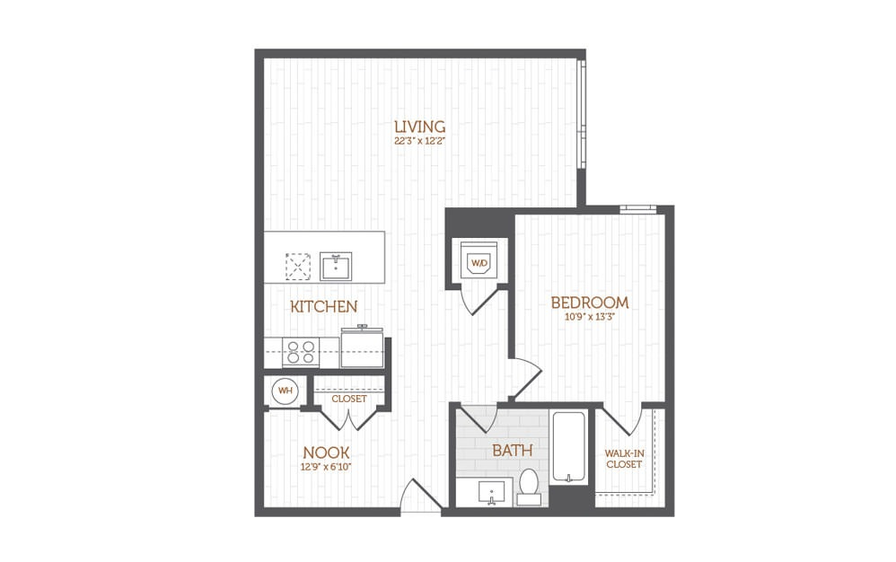 BB3 - 1 bedroom floorplan layout with 1 bath and 875 square feet.