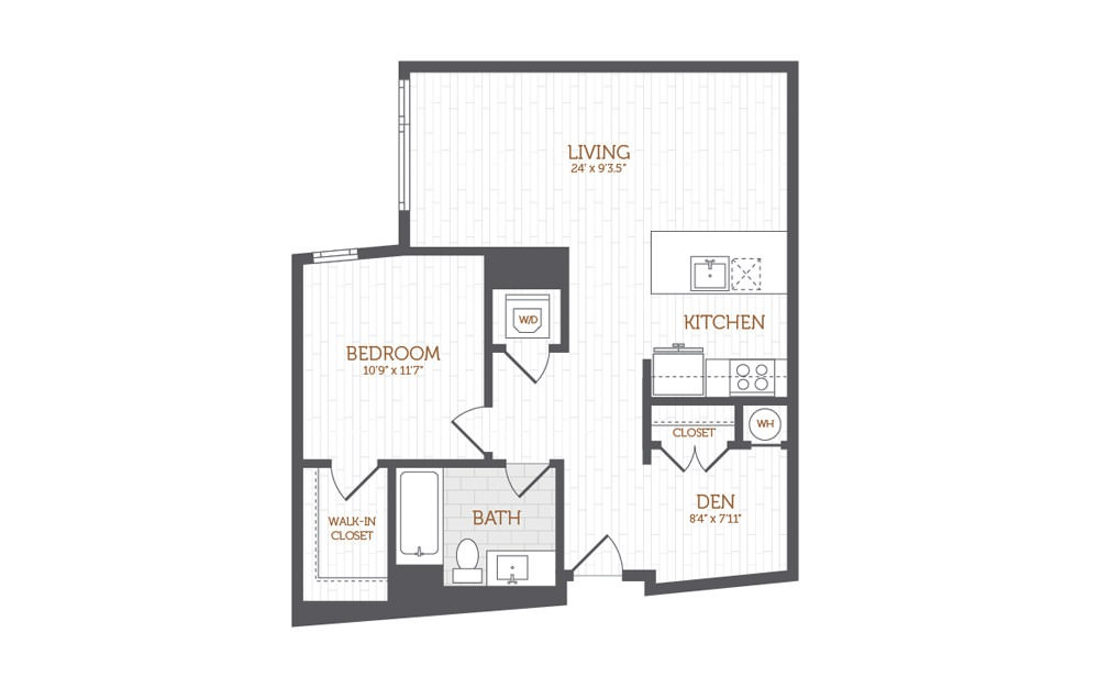 BB4 - 1 Bedroom with Den floorplan layout with 1 bath and 885 square feet.