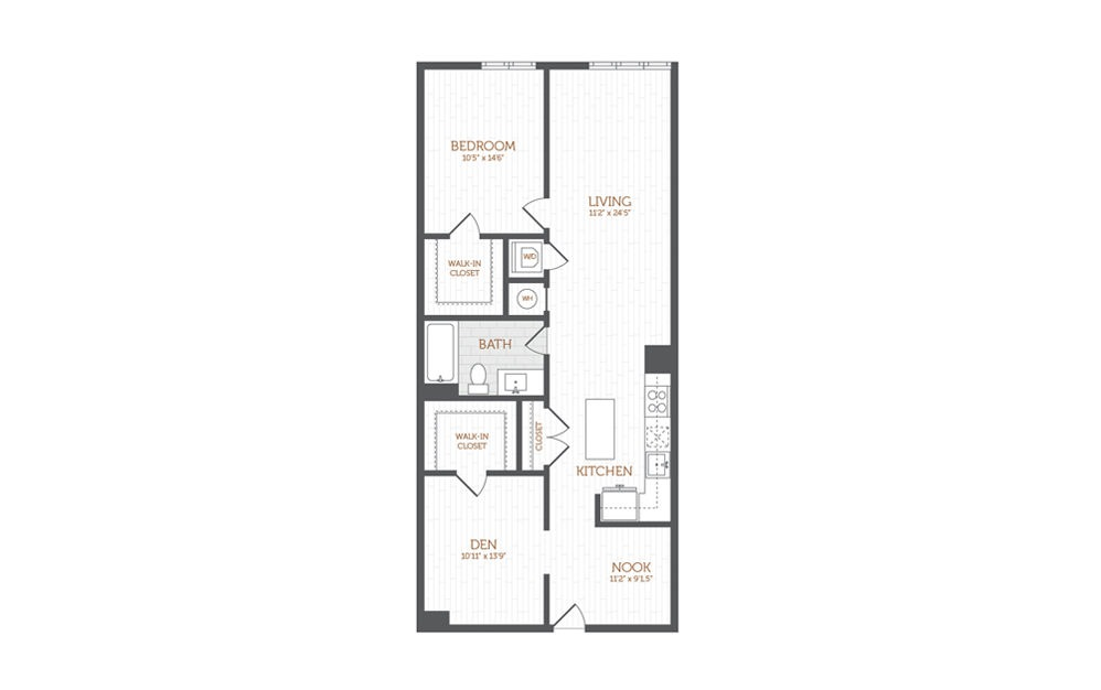 BB5 - 1 bedroom floorplan layout with 1 bath and 1198 square feet.
