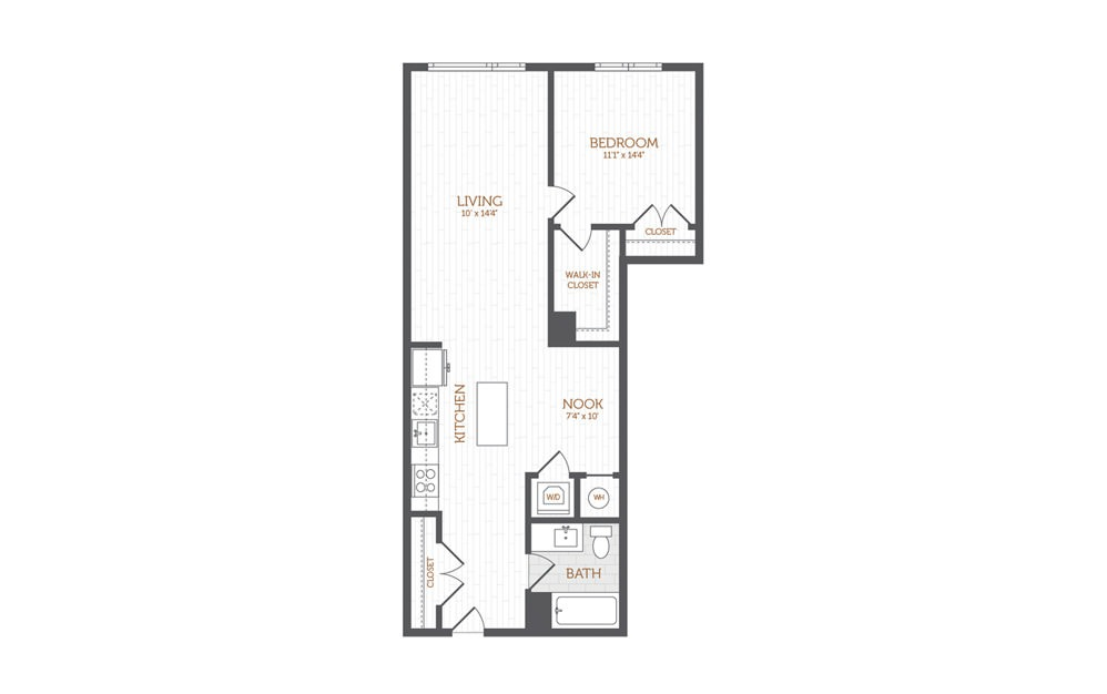 BB6 - 1 Bedroom Den floorplan layout with 1 bath and 872 to 1019 square feet.