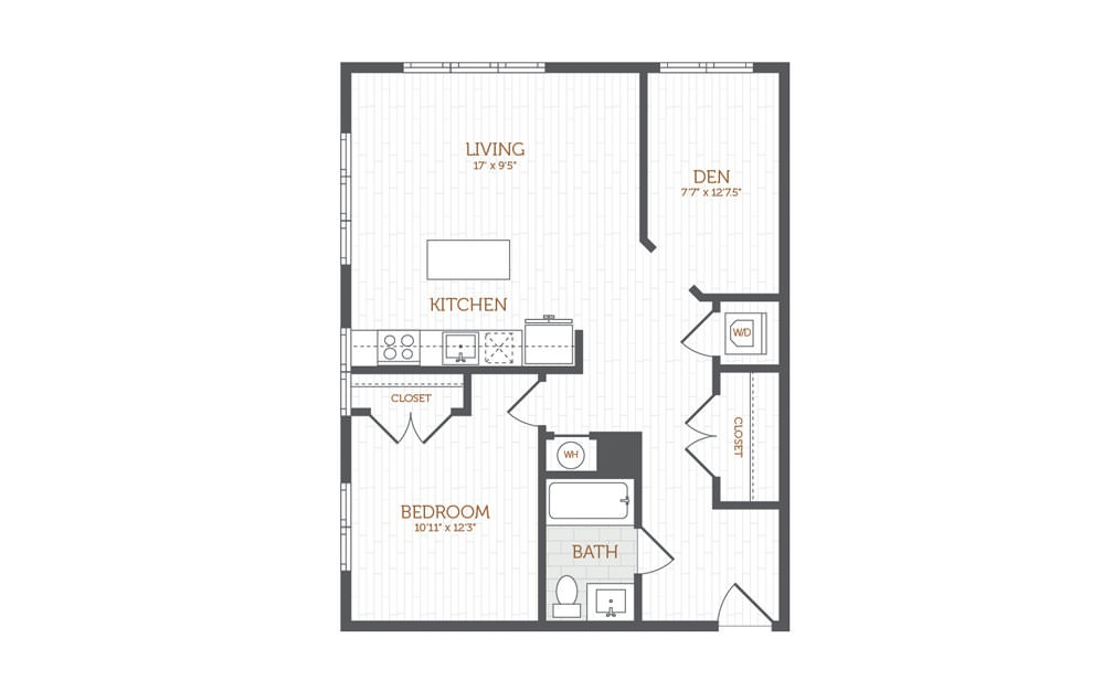 BB7 - 1 bedroom floorplan layout with 1 bath and 908 square feet.