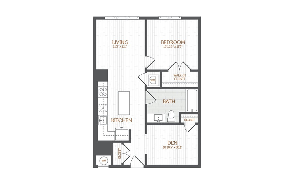 BB9 - 1 Bedroom Den floorplan layout with 1 bath and 783 to 796 square feet.