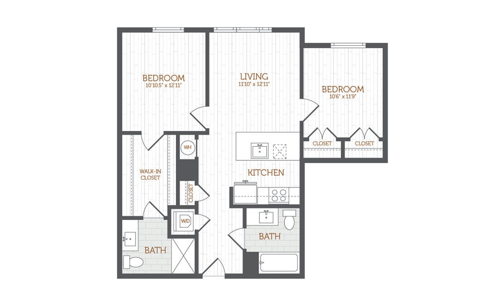 C1 - 2 bedroom floorplan layout with 2 baths and 941 to 980 square feet.