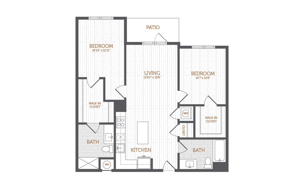 C10 - 2 bedroom floorplan layout with 2 baths and 1093 to 1097 square feet.