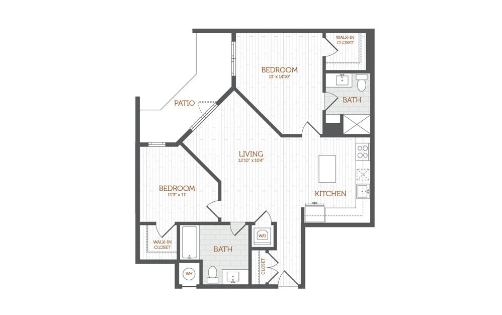 C11 - 2 bedroom floorplan layout with 2 baths and 1047 to 1058 square feet.