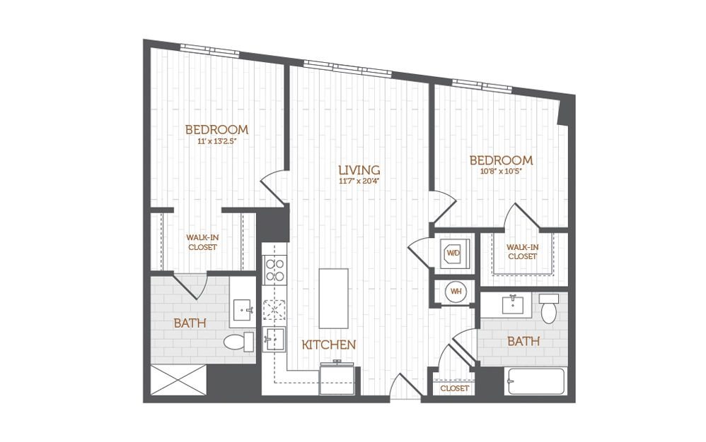 C14 - 2 bedroom floorplan layout with 2 baths and 970 to 998 square feet.