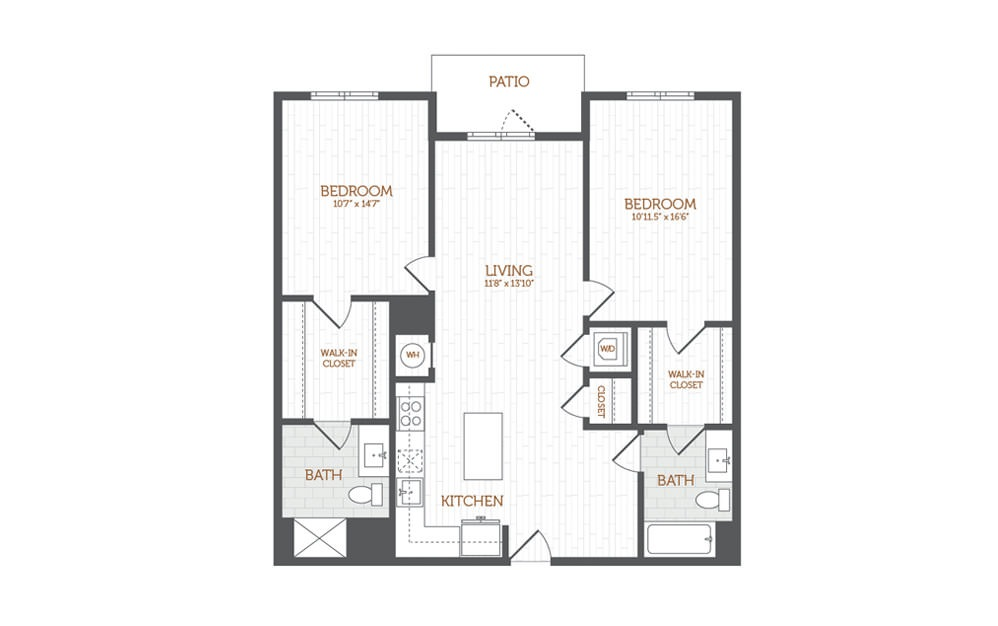 C16 - 2 bedroom floorplan layout with 2 baths and 1197 square feet.