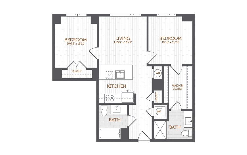 C1a - 2 bedroom floorplan layout with 2 baths and 934 to 1018 square feet.