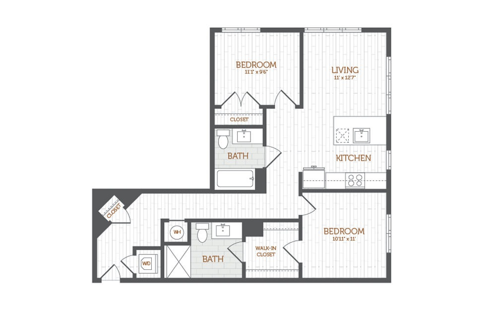C3 - 2 bedroom floorplan layout with 2 baths and 965 to 990 square feet.