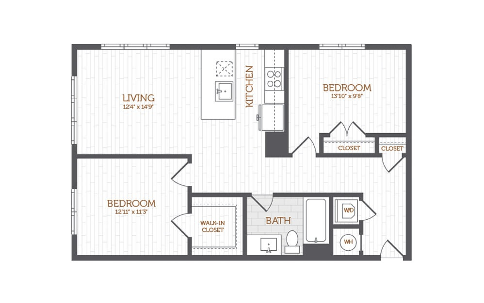 C5 - 2 bedroom floorplan layout with 1 bath and 1013 square feet.