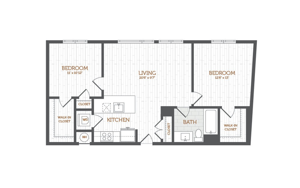 C7 - 2 bedroom floorplan layout with 1 bath and 939 square feet.