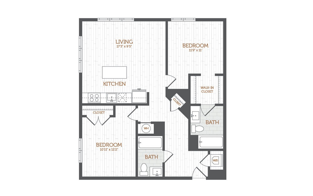 C8 - 2 bedroom floorplan layout with 2 baths and 1017 square feet.