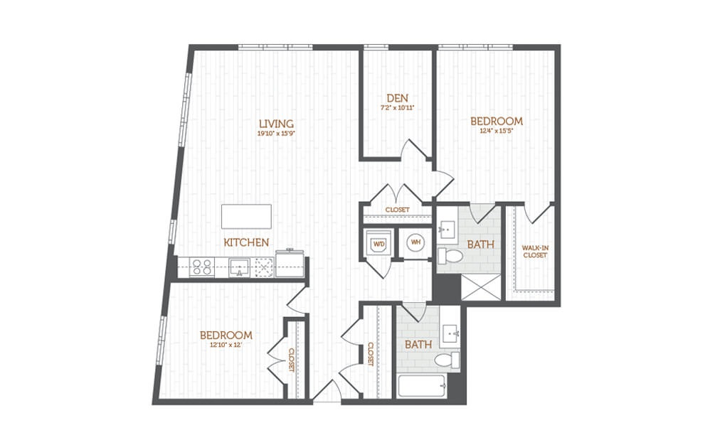 CC1 - 2 bedroom floorplan layout with 2 baths and 1431 square feet.
