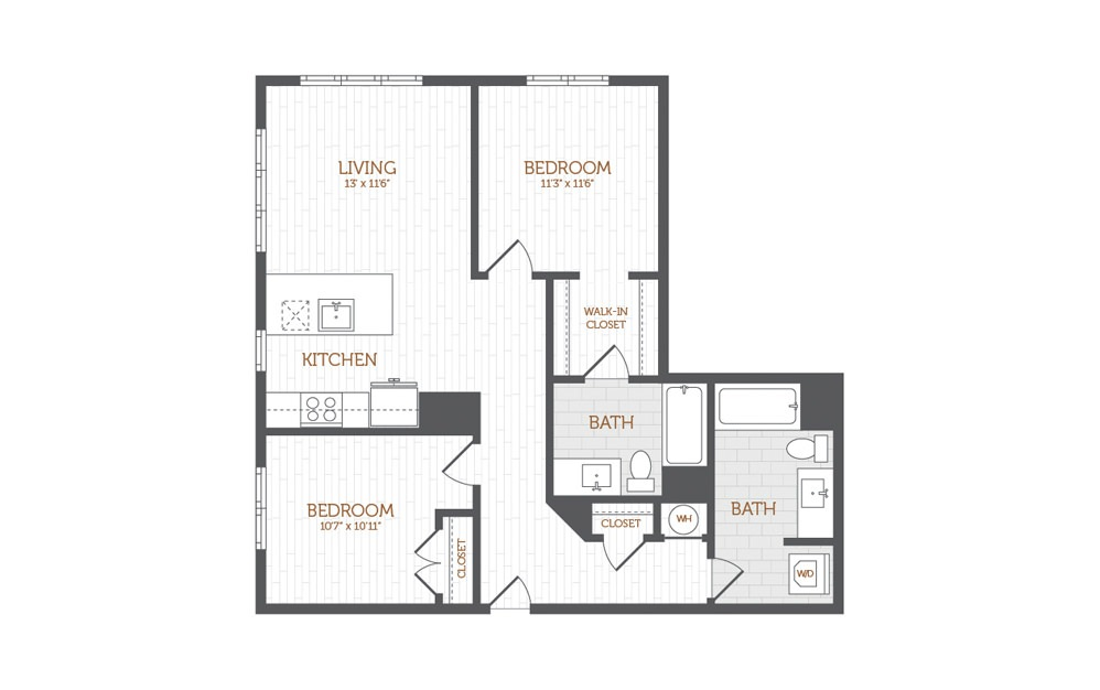 C4 - 2 bedroom floorplan layout with 2 baths and 1067 square feet.
